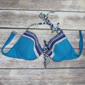 Lucky Brand Turquoise Boho Bikini Top Size Large